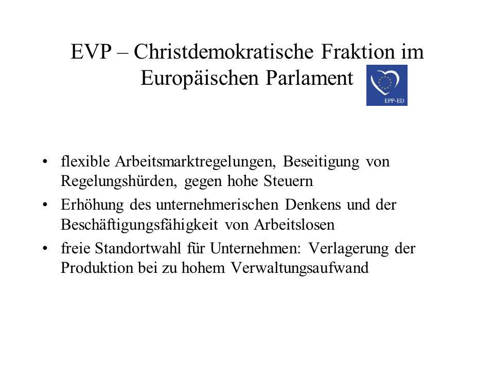 EVP – Christdemokratische Fraktion im Europäischen Parlament flexible Arbeitsmarktregelungen, Beseitigung von Regelungshürden, gegen hohe Steuern Erhö