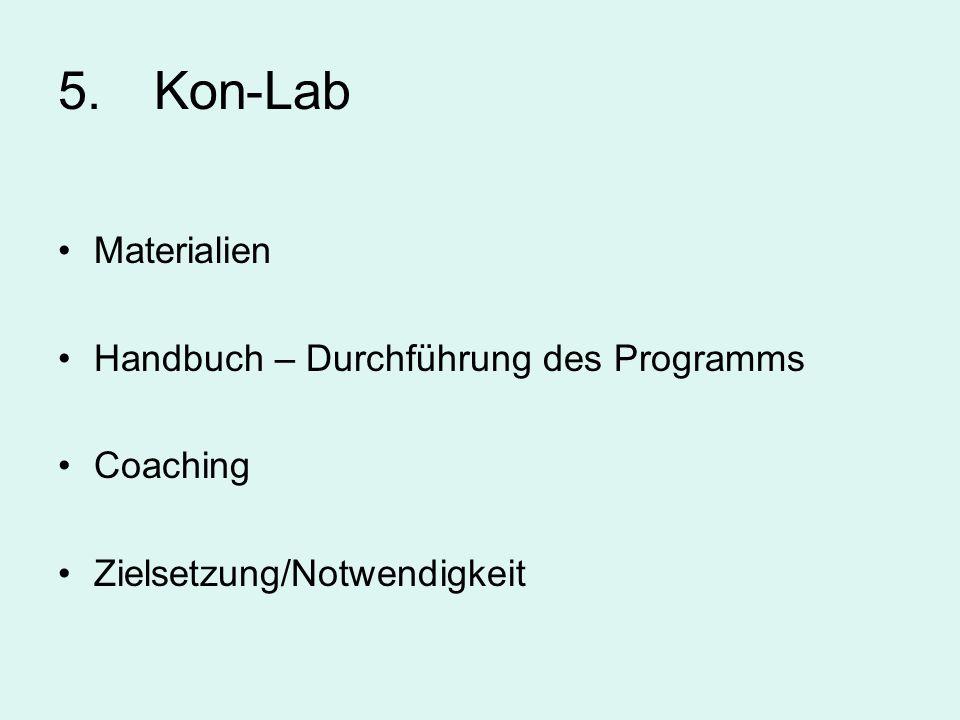 5. Kon-Lab Materialien Handbuch – Durchführung des Programms Coaching Zielsetzung/Notwendigkeit