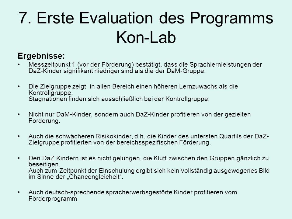 7. Erste Evaluation des Programms Kon-Lab Ergebnisse: Messzeitpunkt 1 (vor der Förderung) bestätigt, dass die Sprachlernleistungen der DaZ-Kinder sign