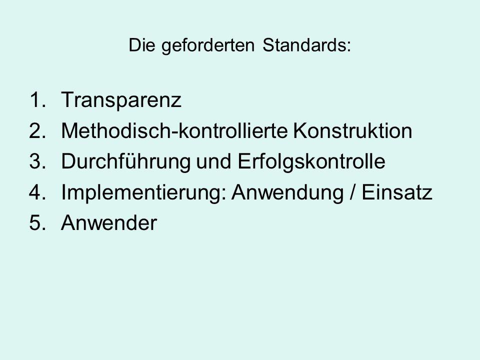 Die geforderten Standards: 1.Transparenz 2.Methodisch-kontrollierte Konstruktion 3.Durchführung und Erfolgskontrolle 4.Implementierung: Anwendung / Ei