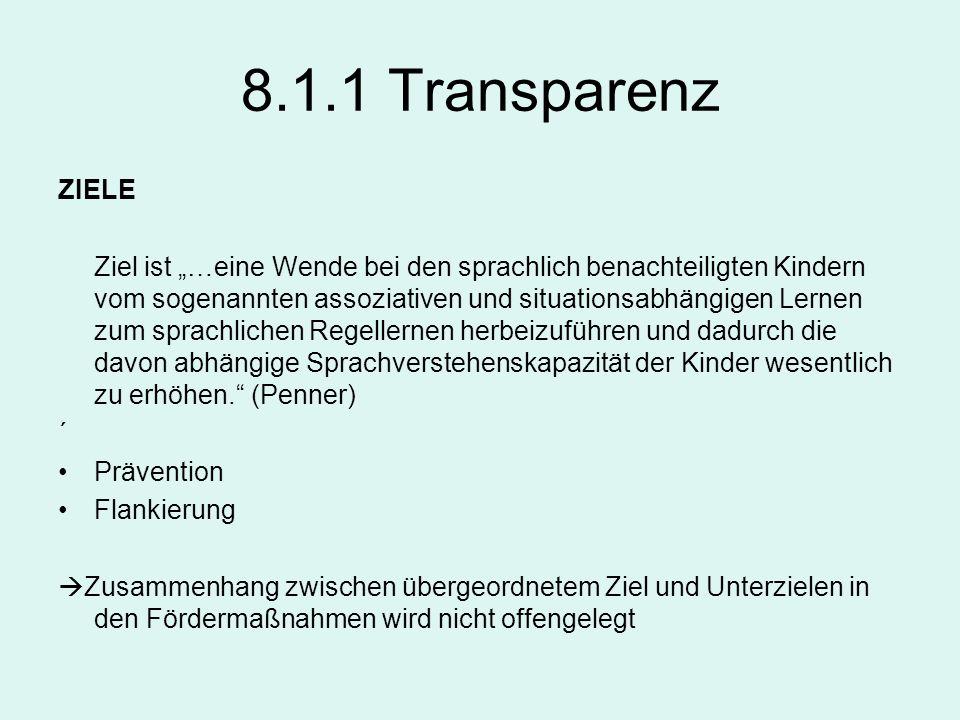 8.1.1 Transparenz ZIELE Ziel ist …eine Wende bei den sprachlich benachteiligten Kindern vom sogenannten assoziativen und situationsabhängigen Lernen z