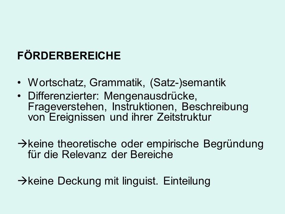 FÖRDERBEREICHE Wortschatz, Grammatik, (Satz-)semantik Differenzierter: Mengenausdrücke, Frageverstehen, Instruktionen, Beschreibung von Ereignissen un