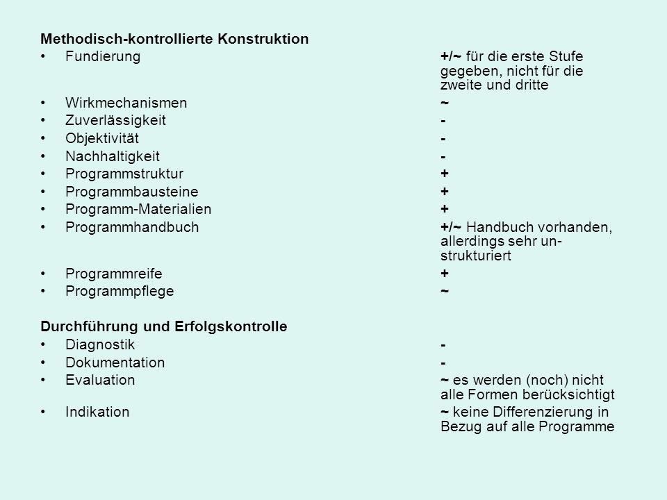Methodisch-kontrollierte Konstruktion Fundierung +/~ für die erste Stufe gegeben, nicht für die zweite und dritte Wirkmechanismen ~ Zuverlässigkeit -
