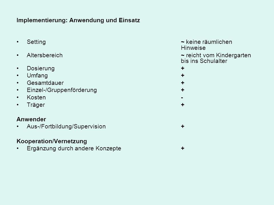 Implementierung: Anwendung und Einsatz Setting ~ keine räumlichen Hinweise Altersbereich ~ reicht vom Kindergarten bis ins Schulalter Dosierung + Umfa