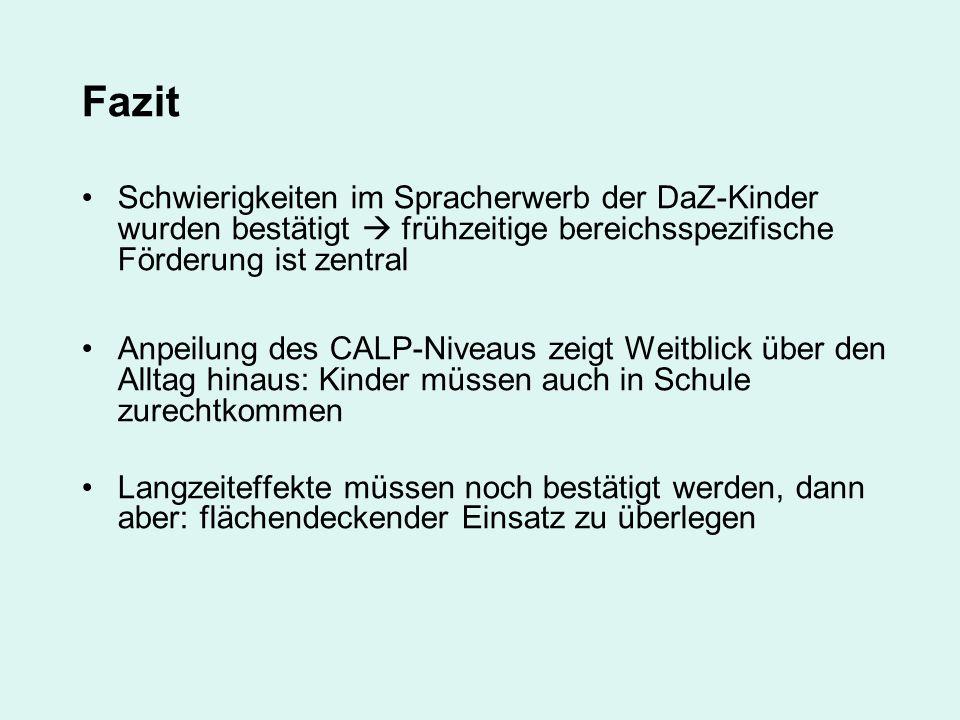 Fazit Schwierigkeiten im Spracherwerb der DaZ-Kinder wurden bestätigt frühzeitige bereichsspezifische Förderung ist zentral Anpeilung des CALP-Niveaus