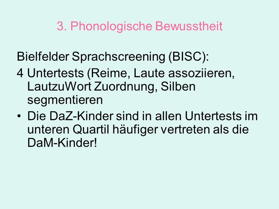 3. Phonologische Bewusstheit Bielfelder Sprachscreening (BISC): 4 Untertests (Reime, Laute assoziieren, LautzuWort Zuordnung, Silben segmentieren Die