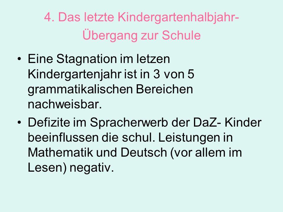 4. Das letzte Kindergartenhalbjahr- Übergang zur Schule Eine Stagnation im letzen Kindergartenjahr ist in 3 von 5 grammatikalischen Bereichen nachweis