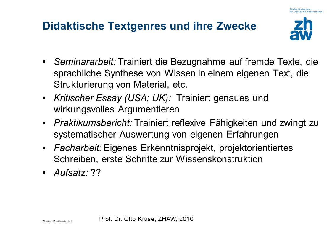 Zürcher Fachhochschule Didaktische Textgenres und ihre Zwecke Seminararbeit: Trainiert die Bezugnahme auf fremde Texte, die sprachliche Synthese von W