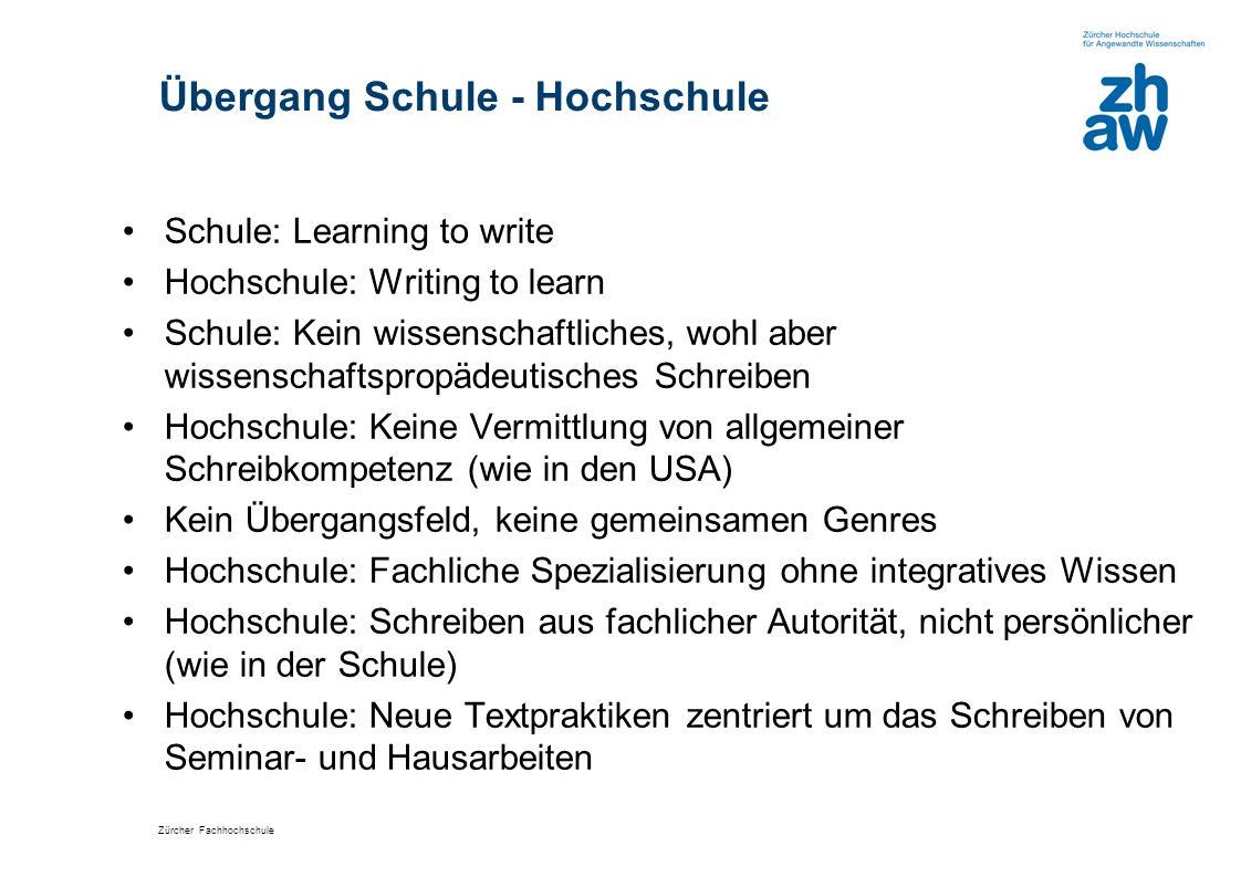 Zürcher Fachhochschule Übergang Schule - Hochschule Schule: Learning to write Hochschule: Writing to learn Schule: Kein wissenschaftliches, wohl aber