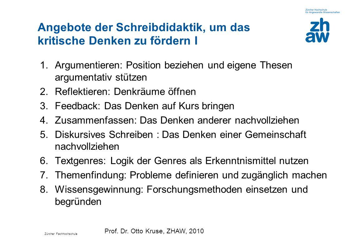 Zürcher Fachhochschule Angebote der Schreibdidaktik, um das kritische Denken zu fördern I 1.Argumentieren: Position beziehen und eigene Thesen argumen