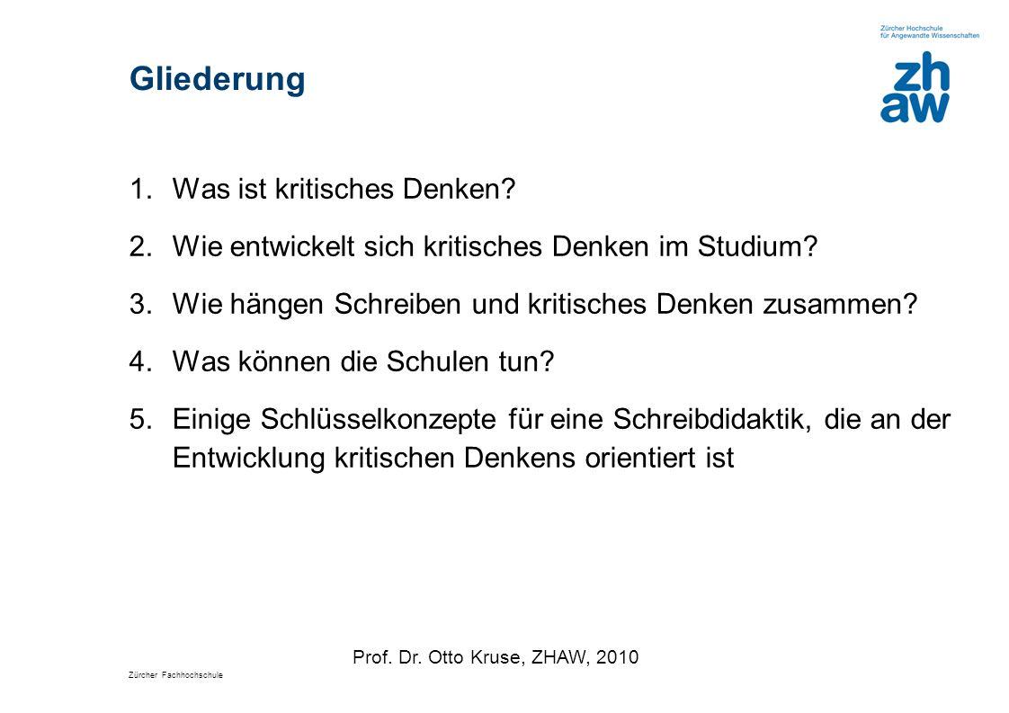 Zürcher Fachhochschule Gliederung 1.Was ist kritisches Denken? 2.Wie entwickelt sich kritisches Denken im Studium? 3.Wie hängen Schreiben und kritisch