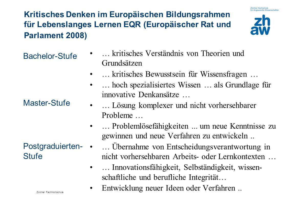Zürcher Fachhochschule Kritisches Denken im Europäischen Bildungsrahmen für Lebenslanges Lernen EQR (Europäischer Rat und Parlament 2008) Bachelor-Stu