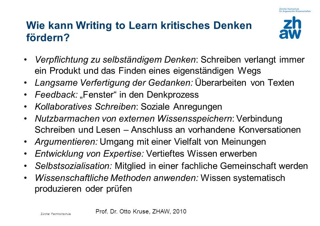 Zürcher Fachhochschule Wie kann Writing to Learn kritisches Denken fördern? Verpflichtung zu selbständigem Denken: Schreiben verlangt immer ein Produk