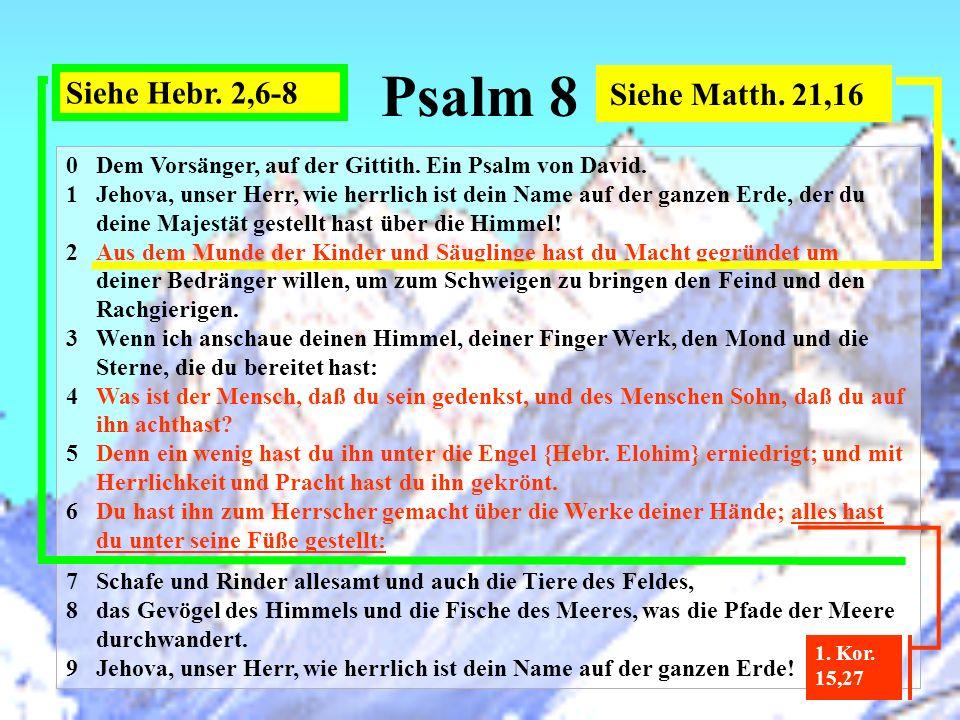 Psalm 8 0Dem Vorsänger, auf der Gittith. Ein Psalm von David. 1Jehova, unser Herr, wie herrlich ist dein Name auf der ganzen Erde, der du deine Majest
