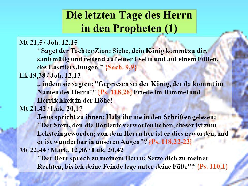 Die letzten Tage des Herrn in den Propheten (1) Mt 21,5 / Joh. 12,15