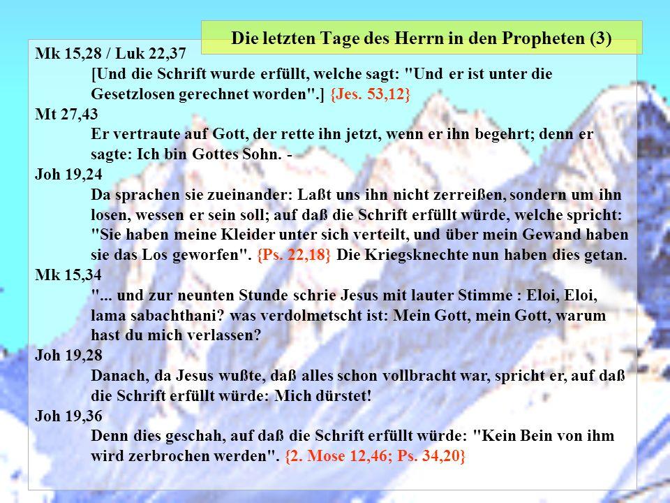 Mk 15,28 / Luk 22,37 [Und die Schrift wurde erfüllt, welche sagt:
