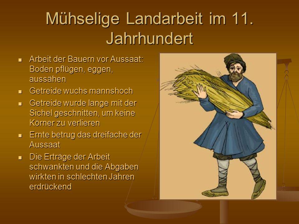 Die Kleidung im 11. Jahrhundert Reiche trugen teure Sachen aus Seide, veredelte Tuche und bessere Textilqualitäten als die niedrigeren Stände Die nied