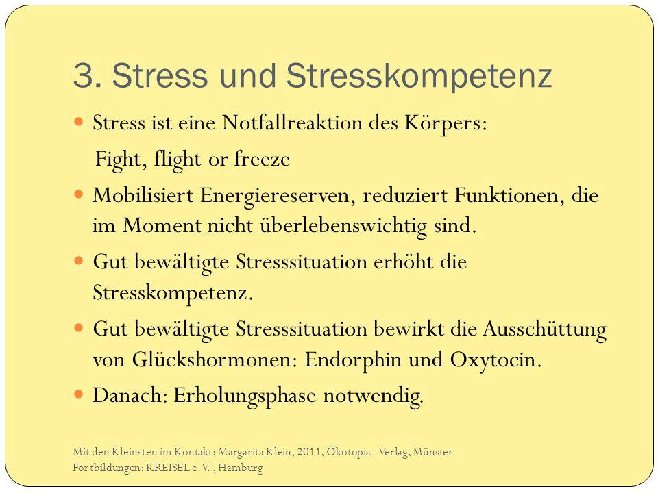 3. Stress und Stresskompetenz Stress ist eine Notfallreaktion des Körpers: Fight, flight or freeze Mobilisiert Energiereserven, reduziert Funktionen,