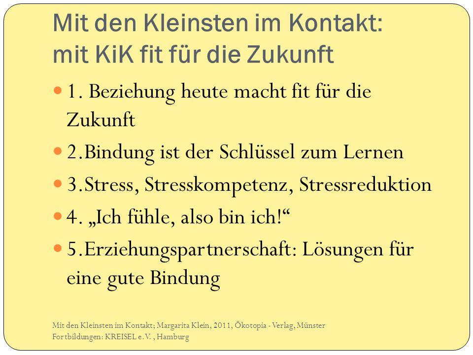 Mit den Kleinsten im Kontakt: mit KiK fit für die Zukunft 1. Beziehung heute macht fit für die Zukunft 2.Bindung ist der Schlüssel zum Lernen 3.Stress