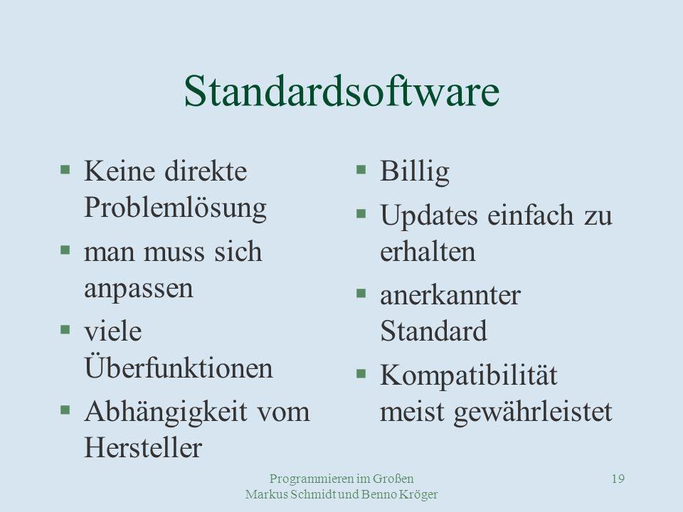 Programmieren im Großen Markus Schmidt und Benno Kröger 19 Standardsoftware §Keine direkte Problemlösung §man muss sich anpassen §viele Überfunktionen §Abhängigkeit vom Hersteller §Billig §Updates einfach zu erhalten §anerkannter Standard §Kompatibilität meist gewährleistet