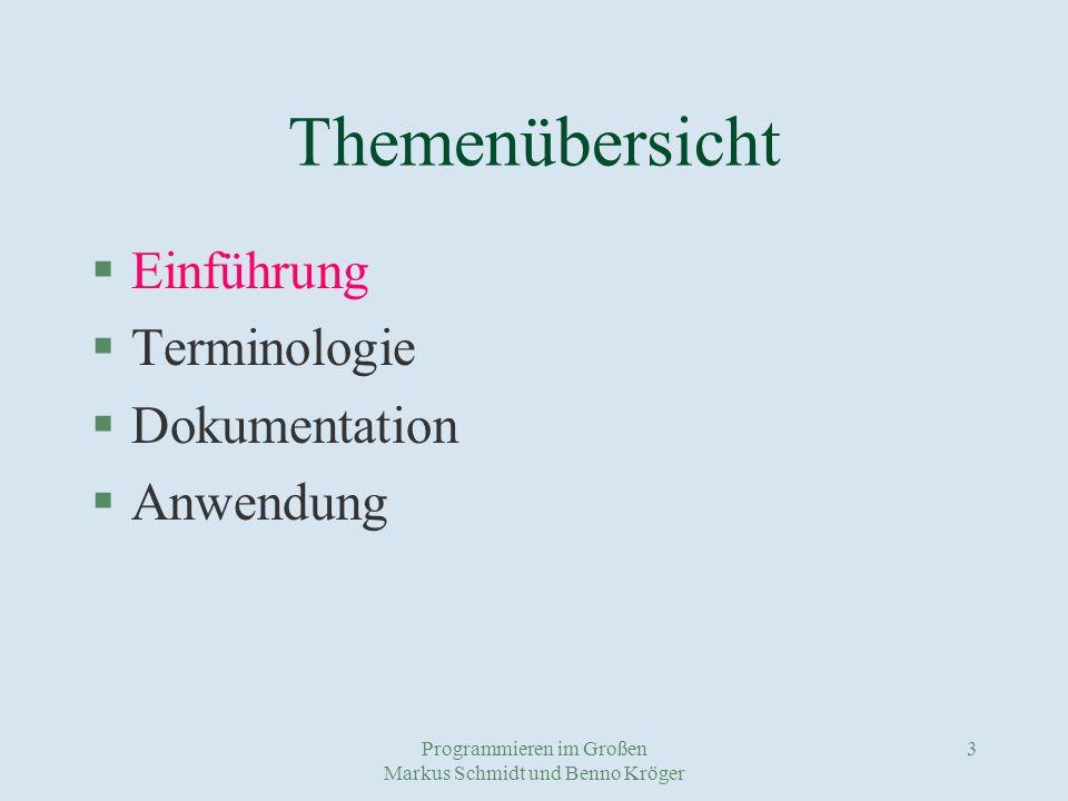 Programmieren im Großen Markus Schmidt und Benno Kröger 14 Vorteile von Frameworks - können wieder benutzt werden - sparen Entwicklungszeit - verkürzen den Programmcode - sind vielseitig einsetzbar