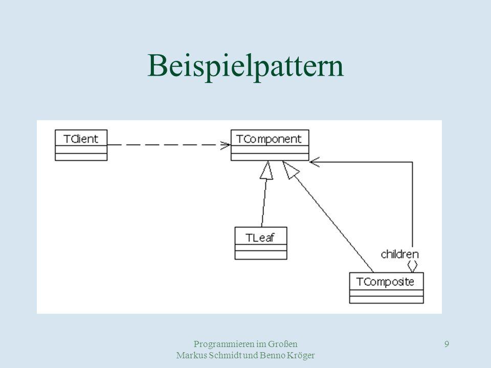 Programmieren im Großen Markus Schmidt und Benno Kröger 10 Patternstandards COM+ und.NET (Microsoft) EJB (Sun) CORBA (OMG)