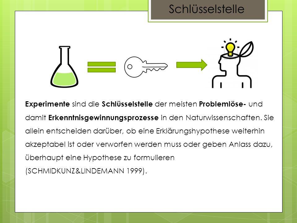 Experimente sind die Schlüsselstelle der meisten Problemlöse- und damit Erkenntnisgewinnungsprozesse in den Naturwissenschaften. Sie allein entscheide