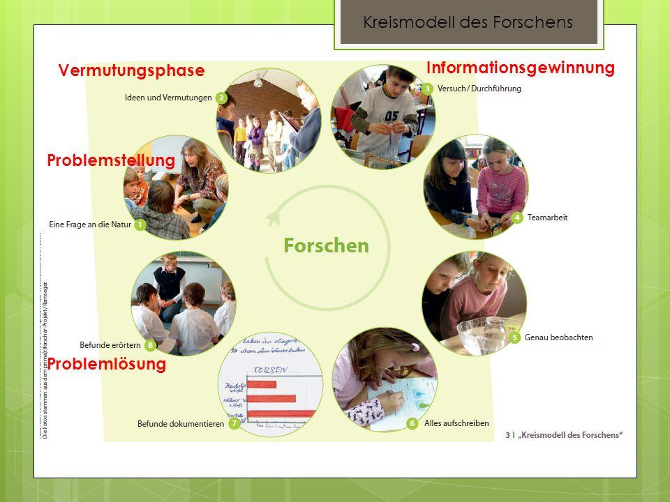 Kreismodell des Forschens Problemstellung Vermutungsphase Informationsgewinnung Problemlösung