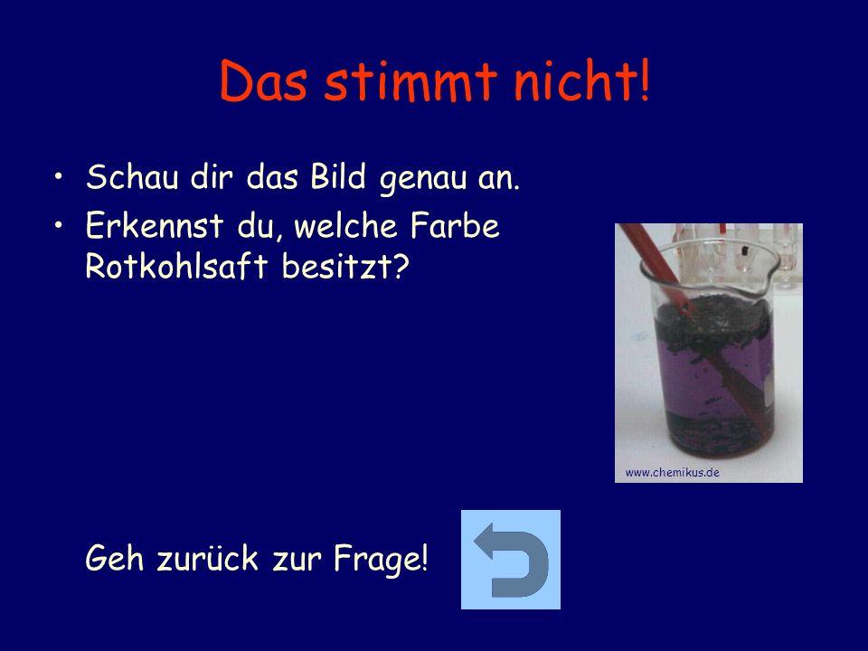 Das stimmt nicht! Schau dir das Bild genau an. Erkennst du, welche Farbe Rotkohlsaft besitzt? Geh zurück zur Frage! www.chemikus.de