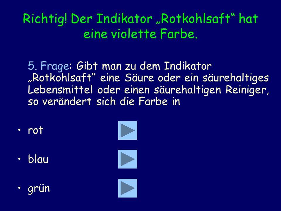 Richtig! Der Indikator Rotkohlsaft hat eine violette Farbe. 5. Frage: Gibt man zu dem Indikator Rotkohlsaft eine Säure oder ein säurehaltiges Lebensmi