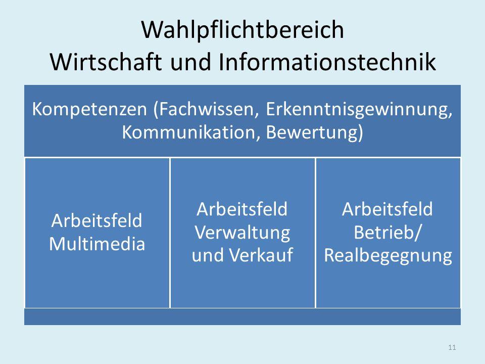 Wahlpflichtbereich Wirtschaft und Informationstechnik Kompetenzen (Fachwissen, Erkenntnisgewinnung, Kommunikation, Bewertung) Arbeitsfeld Multimedia A