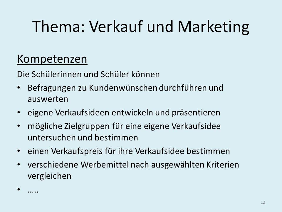 Thema: Verkauf und Marketing Kompetenzen Die Schülerinnen und Schüler können Befragungen zu Kundenwünschen durchführen und auswerten eigene Verkaufsid
