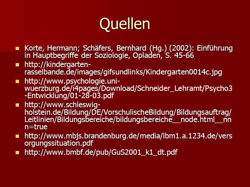 Quellen Korte, Hermann; Schäfers, Bernhard (Hg.) (2002): Einführung in Hauptbegriffe der Soziologie, Opladen, S. 45-66 Korte, Hermann; Schäfers, Bernh