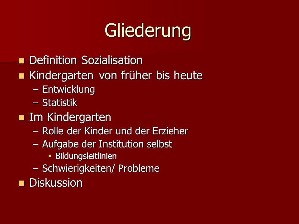 Gliederung Definition Sozialisation Definition Sozialisation Kindergarten von früher bis heute Kindergarten von früher bis heute –Entwicklung –Statist
