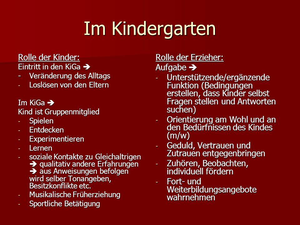 Rolle der Kinder: Eintritt in den KiGa Eintritt in den KiGa -Veränderung des Alltags - Loslösen von den Eltern Im KiGa Im KiGa Kind ist Gruppenmitglie