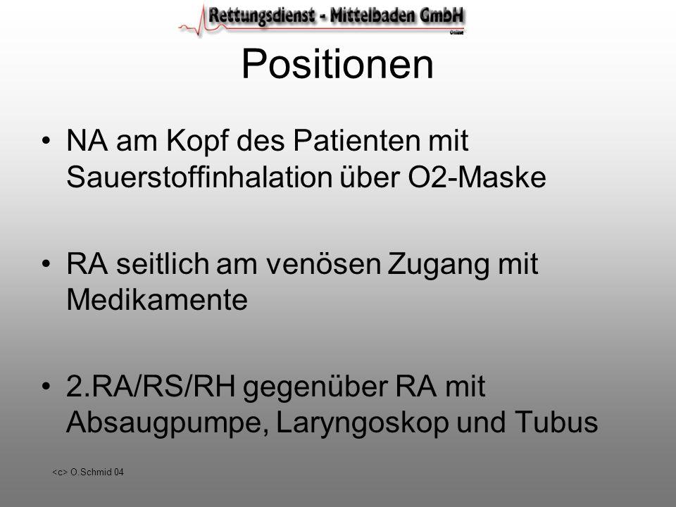 O.Schmid 04 Positionen NA am Kopf des Patienten mit Sauerstoffinhalation über O2-Maske RA seitlich am venösen Zugang mit Medikamente 2.RA/RS/RH gegenü