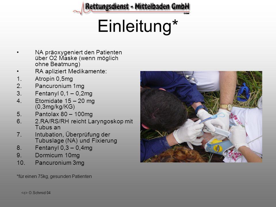 O.Schmid 04 Einleitung* NA präoxygeniert den Patienten über O2 Maske (wenn möglich ohne Beatmung) RA apliziert Medikamente: 1.Atropin 0,5mg 2.Pancuron