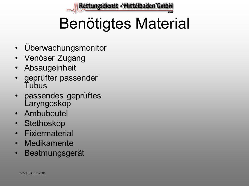O.Schmid 04 Benötigtes Material Überwachungsmonitor Venöser Zugang Absaugeinheit geprüfter passender Tubus passendes geprüftes Laryngoskop Ambubeutel