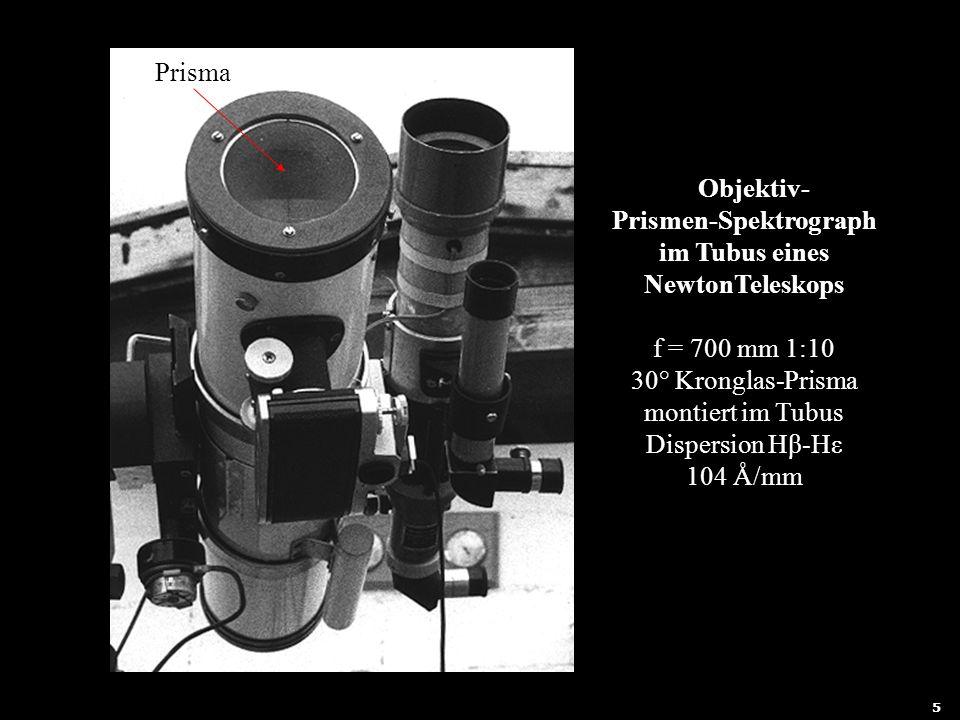 6 Prisma Objektiv- Prismen-Spektrograph im Tubus eines NewtonTeleskops f = 700 mm 1:10 30° Kronglas-Prisma montiert im Tubus Dispersion Hβ-Hε 104 Å/mm
