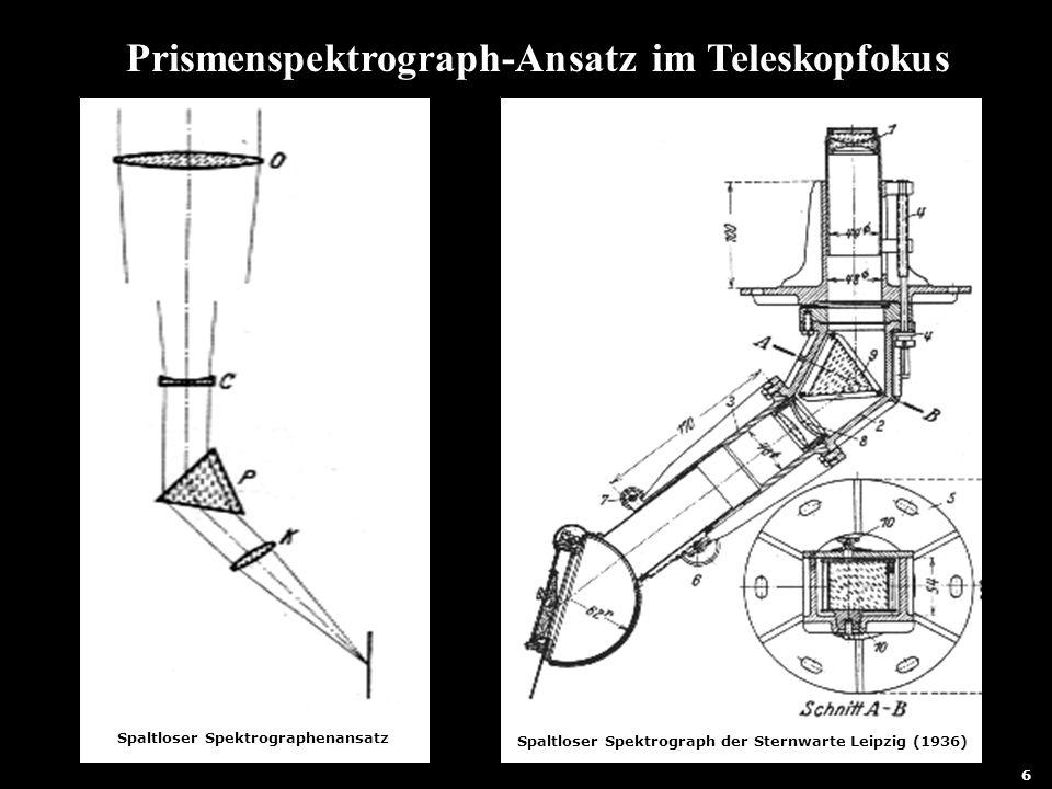 7 Prismenspektrograph-Ansatz im Teleskopfokus Spaltloser Spektrographenansatz Spaltloser Spektrograph der Sternwarte Leipzig (1936) 6