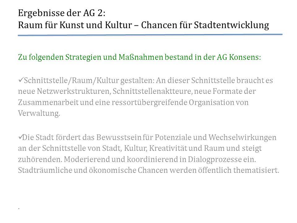 Ergebnisse der AG 2: Raum für Kunst und Kultur – Chancen für Stadtentwicklung Zu folgenden Strategien und Maßnahmen bestand in der AG Konsens: Schnitt