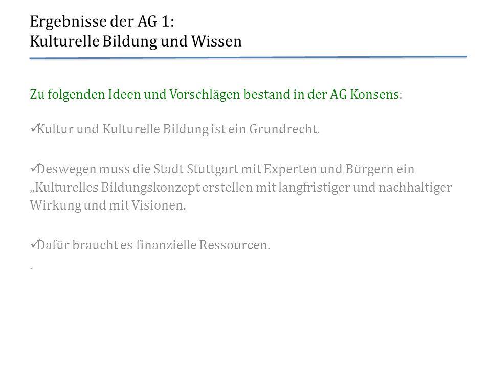 Ergebnisse der AG 6: Selbstverständnis und Bedingungen städtischer Kulturpolitik Noch zu sagen wäre...