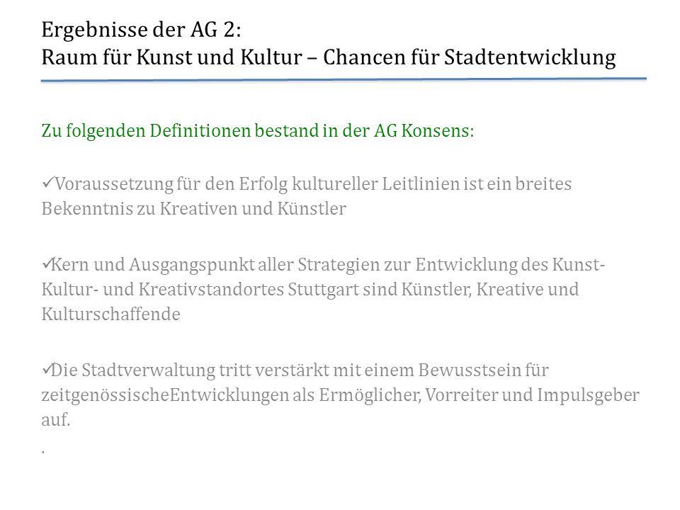 Ergebnisse der AG 2: Raum für Kunst und Kultur – Chancen für Stadtentwicklung Zu folgenden Definitionen bestand in der AG Konsens: Voraussetzung für d