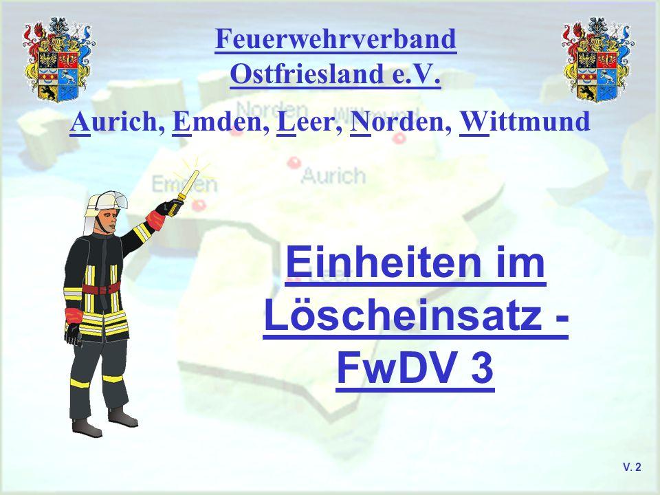 Feuerwehrverband Ostfriesland e.V. Aurich, Emden, Leer, Norden, Wittmund Einheiten im Löscheinsatz - FwDV 3 V. 2