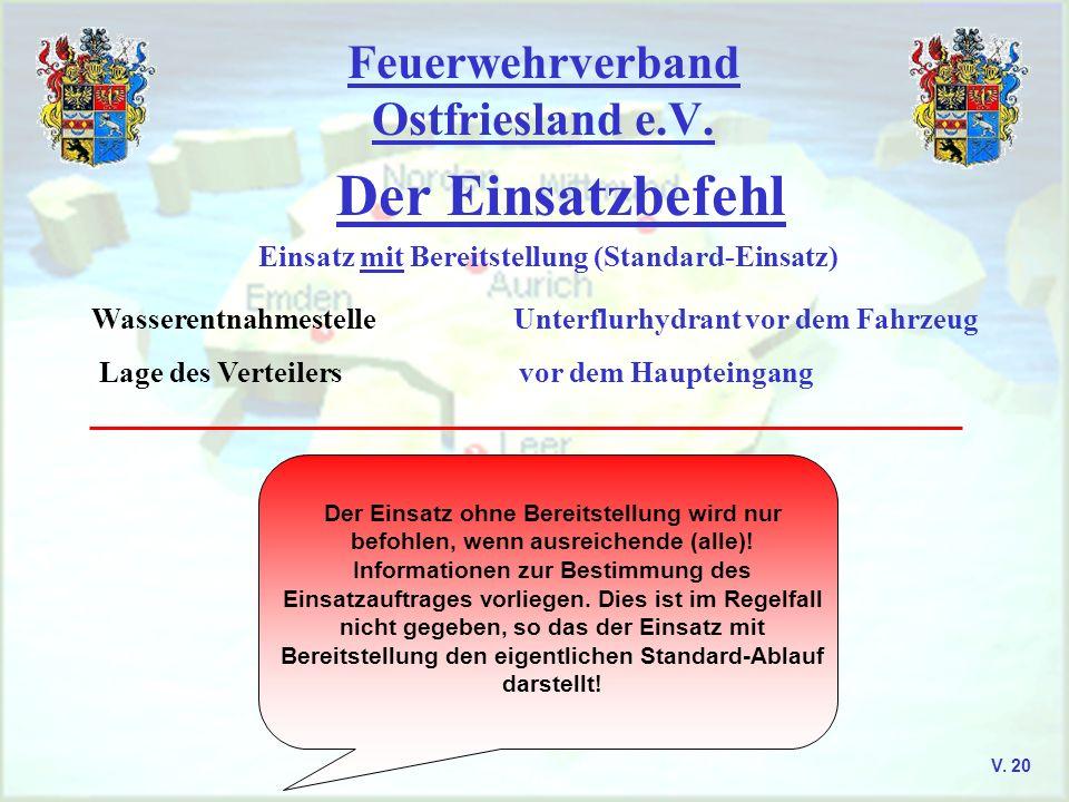 Feuerwehrverband Ostfriesland e.V. Der Einsatzbefehl V. 20 Einsatz mit Bereitstellung (Standard-Einsatz) Wasserentnahmestelle Unterflurhydrant vor dem