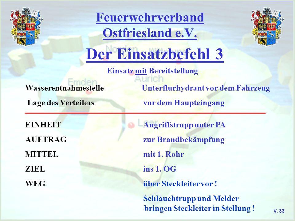 Feuerwehrverband Ostfriesland e.V. Der Einsatzbefehl 3 V. 33 Einsatz mit Bereitstellung Wasserentnahmestelle Unterflurhydrant vor dem Fahrzeug Lage de