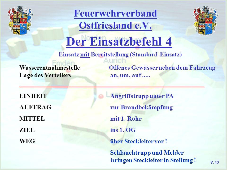 Feuerwehrverband Ostfriesland e.V. Der Einsatzbefehl 4 V. 43 Einsatz mit Bereitstellung (Standard-Einsatz) Wasserentnahmestelle Offenes Gewässer neben