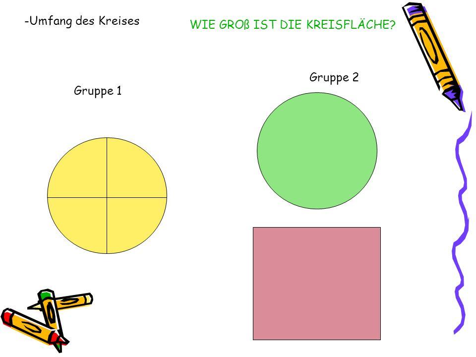 Gruppe 1 Gruppe 2 -Umfang des Kreises WIE GROß IST DIE KREISFLÄCHE?
