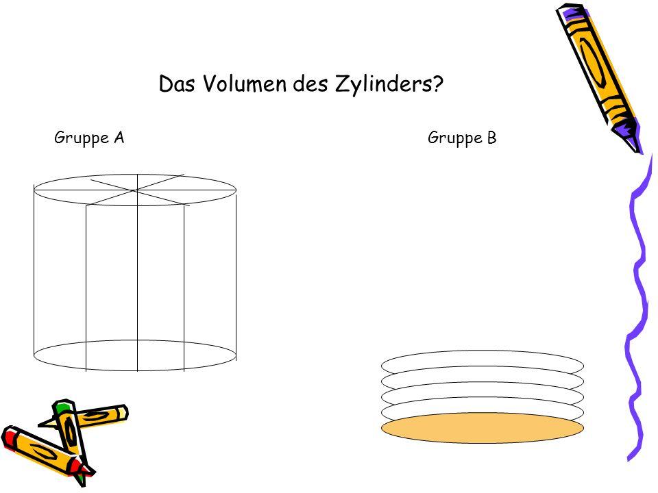 Das Volumen des Zylinders? Gruppe AGruppe B
