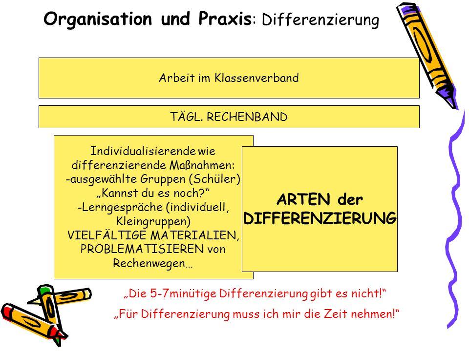 Organisation und Praxis : Differenzierung Arbeit im Klassenverband TÄGL. RECHENBAND Individualisierende wie differenzierende Maßnahmen: -ausgewählte G